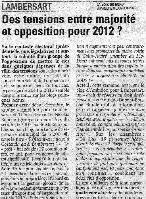 2012-01-08 Des tensions entre majorité et opposition pour 2012 2