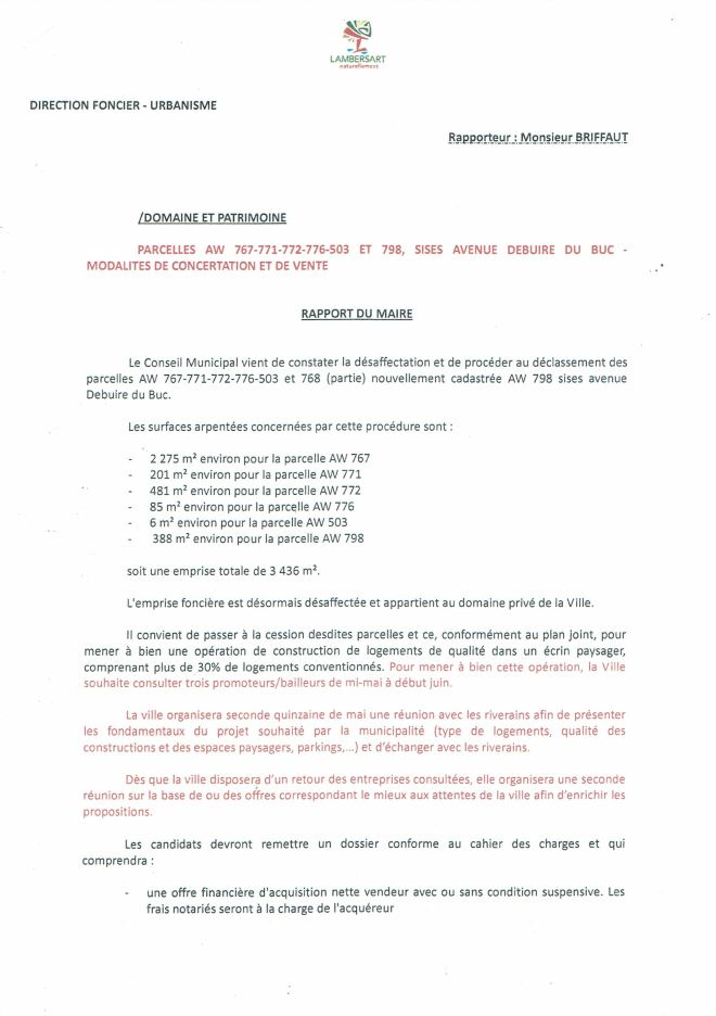 2019-05-09 Délib. Aliénations parcelles Debuire du Buc déposée sur table