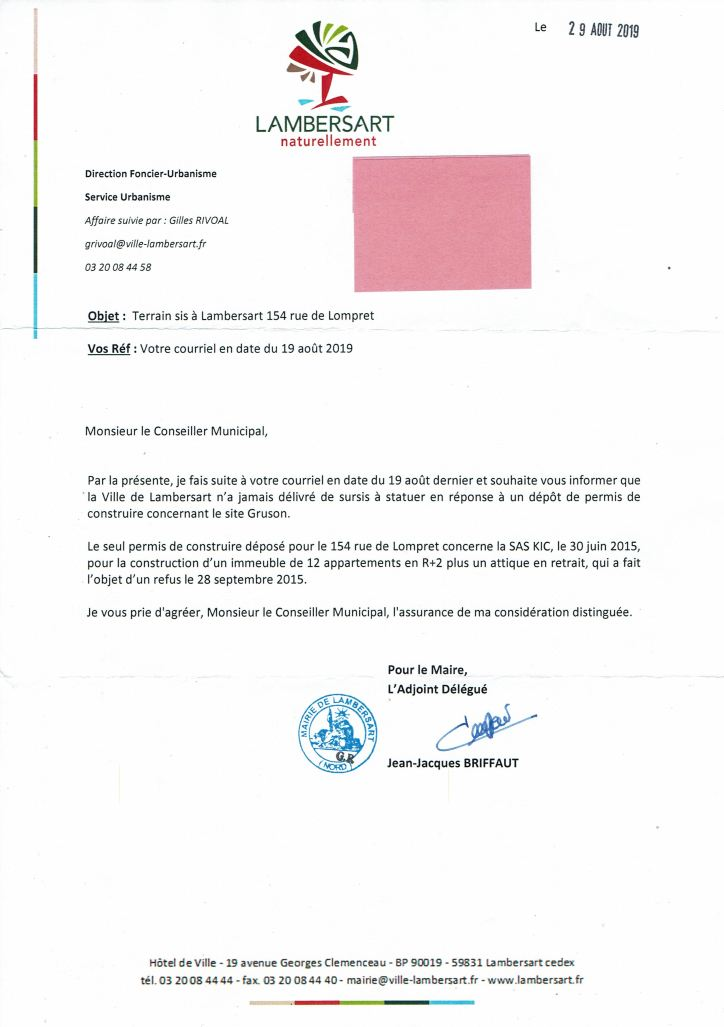 2019-08-29 Lettre GRUSON BRIFFAUT
