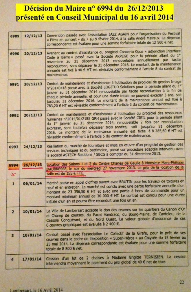 2013-12-26 Décision du Maire n°6994 CM du 16-04-2014