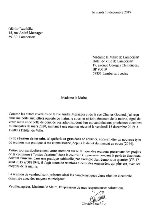 2019-12-10 Lettre à Mme le Maire Olivier Fauchille