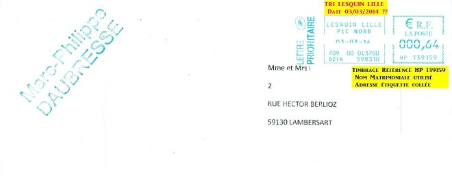 Enveloppe Mme et Mrs Laburiau