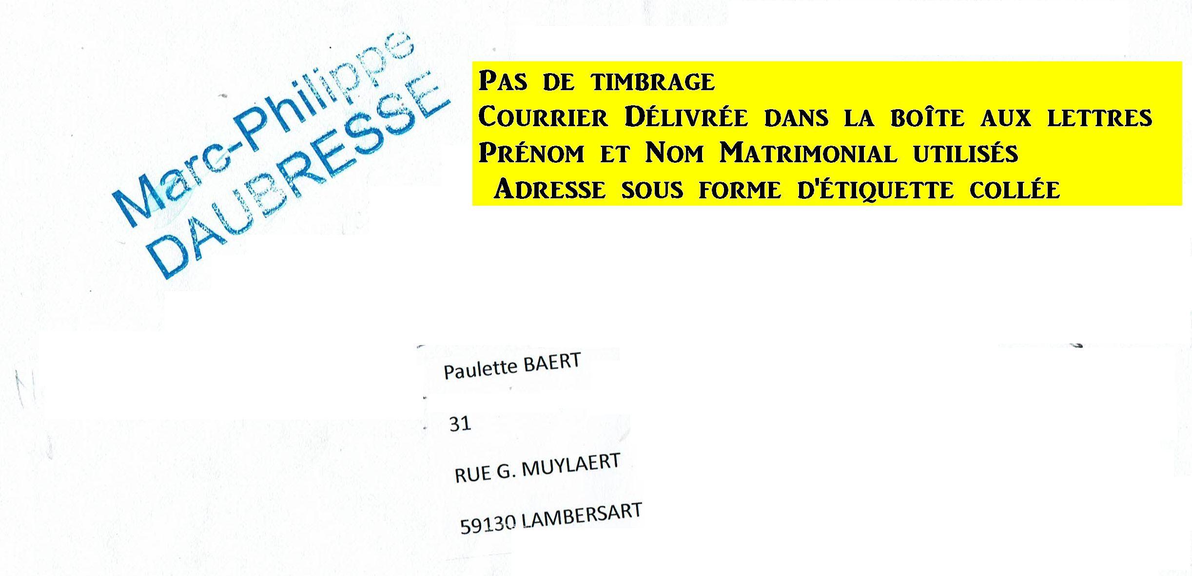 Enveloppe Paulette BAERT